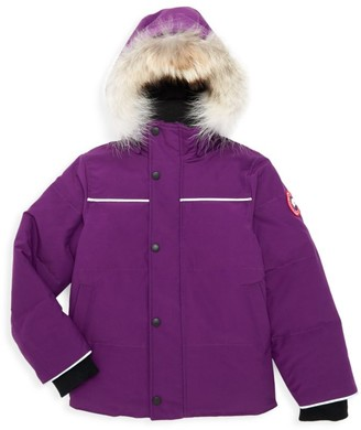 Canada Goose Little Kid's Snowy Owl Coyote Fur-Trim Down Parka