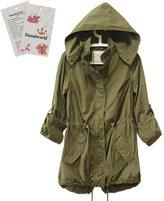 Donalworld Women Hooded Drawstring Military Trench Parka Jacket Coat Asian Size M