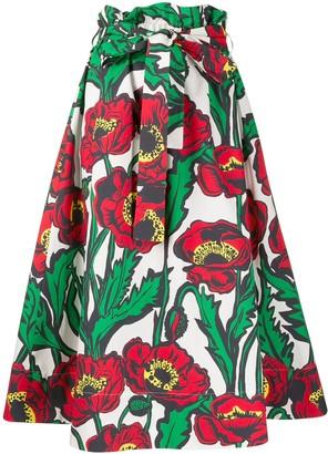 La DoubleJ Big Blooms hydrangea A-line midi skirt
