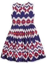 Oscar de la Renta Pleated Cotton Ikat Party Dress, Blue, Size 2-14