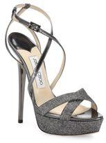 Jimmy Choo Liddie 145 Glitter & Metallic Leather Platform Sandals