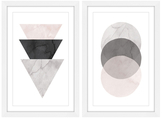 Triangles and Circles Diptych (Giclee)