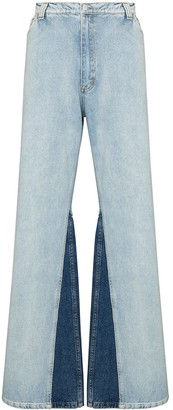Natasha Zinko Contrast-Insert Wide-Leg Jeans