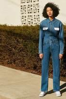 Calvin Klein High-Rise Straight-Leg Jean – Indigo Stripe