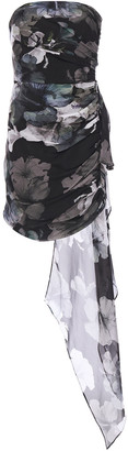 Mason by Michelle Mason Draped Floral-print Silk-chiffon Mini Dress