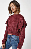 La Hearts Ruffle Shoulder Pullover Sweater