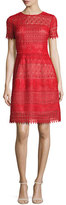 Marchesa Short-Sleeve Macramé Lace A-Line Dress, Red