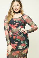 Forever 21 FOREVER 21+ Plus Size Floral Mesh Top