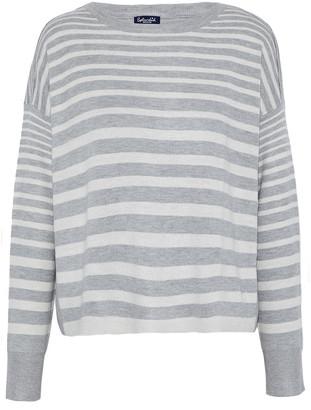Splendid Split-back Striped Knitted Sweater