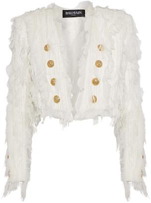 Balmain Cropped Chiffon-appliqued Embellished Tweed Jacket