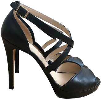 Max Mara Black Leather Sandals