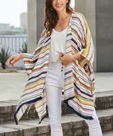 Suzanne Betro Weekend Women's Kimono Cardigans 101OFFWHIT/PINK/NAVY - Pink & Navy Stripe Fringe-Hem Side-Tie Kimono - Women & Plus