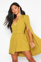 boohoo Belted Cape Detail Blazer Dress