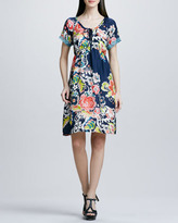 Johnny Was Collection Floral-Print Tie-Neck Silk Dress, Women's
