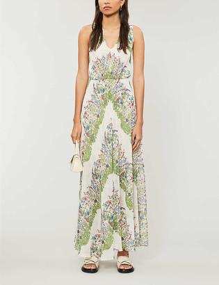 Maje Floral-print chiffon maxi dress