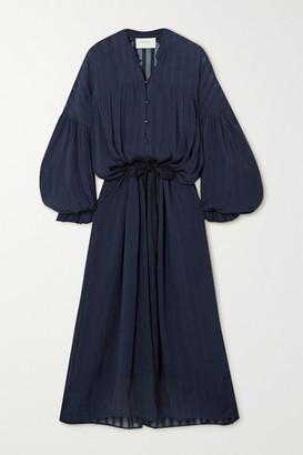 MUNTHE Striped Georgette Midi Dress - Navy