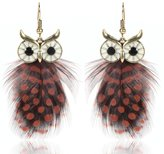 Guirui Jewelry Women Modern Alloy Feather Owl Dangle Drop Earrings