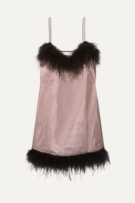 McQ Feather-embellished Mesh And Crepe Mini Dress - Black