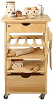 T&G Woodware Kitchen Compact Kitchen Trolley, Natural Hevea, flat-Packed