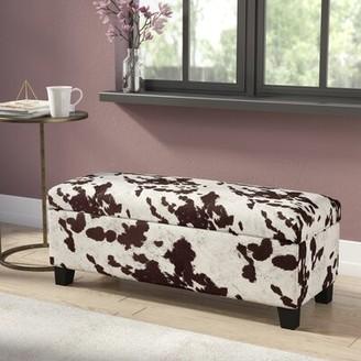House of Hampton Hetherington Upholstered Storage Bench Upholstery : Brown Cow Hide Print Fabric