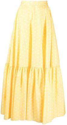 Plan C Polka-Dot Smocked Skirt