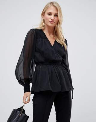 Asos Design DESIGN sheer long sleeve wrap top with lace inserts-Black