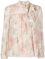 RED Valentino floral pattern pussy bow blouse
