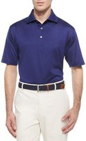 Peter Millar Solid Lisle-Knit Cotton Polo Shirt, Navy