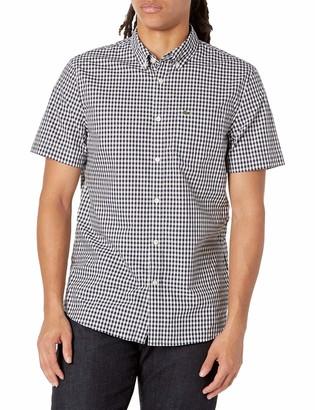 Lacoste Men's Short Sleeve Gingham Regular Fit Poplin Shirt