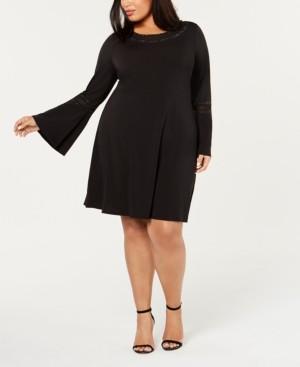 Belldini Plus Size Rhinestone-Trim Fit & Flare Dress