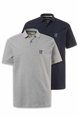 JP 1880 Men's Big & Tall 2-Pack Polo Shirts Grey Navy XXXX-Large 704317 70-4XL