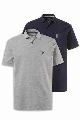 JP 1880 Men's Big & Tall 2-Pack Polo Shirts Grey Navy XXXXX-Large 704317 70-5XL