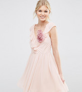 Asos Ruffle V Front Mini Dress With Corsage