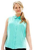 L'amour Nanette Lepore Button-Front Scallop Shirt - Plus
