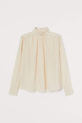 H&M High-collar Blouse - Beige