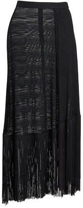Rokh Tassel Trim Mesh Midi Skirt