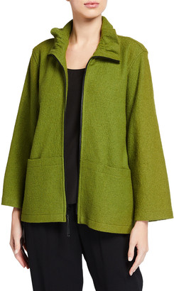 Caroline Rose Plus Size Paris Plush Zip-Front Pocket Jacket