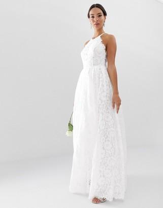Asos Edition EDITION lace halter neck maxi wedding dress-White
