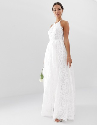 Asos Edition EDITION lace halter neck maxi wedding dress