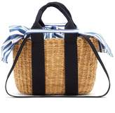 Muun Caba mini striped-canvas and woven-straw tote