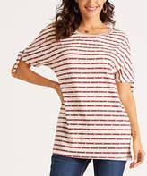 Suzanne Betro Weekend Women's Tunics 101RED/WHITE - Red & White Stripe Side-Slit Tie-Cuff Tunic - Women