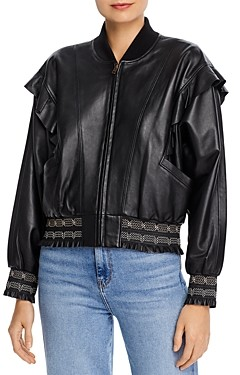 Joie Temis Ruffled Leather Jacket