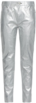 Rag & Bone Cropped Metallic Cracked-leather Tapered Pants