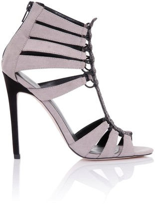 Little Mistress Footwear Athena Grey Cage Heeled Sandals