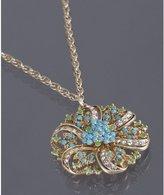 gold enamel detail flower pendant necklace