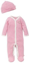 Offspring Girls' Striped Embroidered-Elephant Footie & Hat Set - Baby
