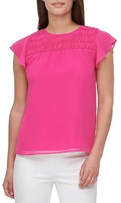 Calvin Klein Smocked Yoke Blouse w/ Ruffle Sleeve (Hibiscus) Women's Clothing