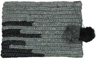 Maraina London Olivia Large Raffia Evening Clutch Bag With Pompoms In Grey & Black