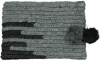 Olivia Large Raffia Evening Clutch Bag With Pompoms In Grey & Black