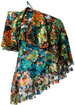 Marques Almeida Marques'almeida - one shoulder ruffled blouse - women - Polyester/Polyurethane/Silk - S